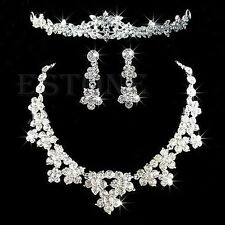 Prom Wedding  Crystal Rhinestone Jewelry Set Necklace Earrings Tiara Crown FAS