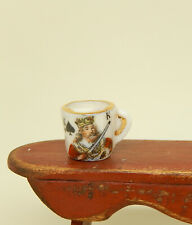 Vintage Porcelain King Of Spades Mustache Cup Artisan Dollhouse Miniature 1:12