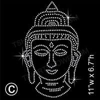 'Buddha' Rhinestone/Diamante Transfer Hotfix Iron on Motif Appliqué + Free Gift
