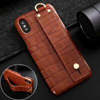 For iPhone XS Max XR XS Luxury Croco Genuine Leather Back Strap Stand Case Cover