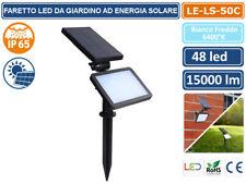 FARO LED DA GIARDINO AD ENERGIA SOLARE PANNELLO BATTERIA RICARICABILE IP65