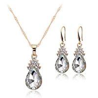 Halskette Ohrringe Diamant Wassertropfen Elegante Damen Schmuck Set Kristall 1A