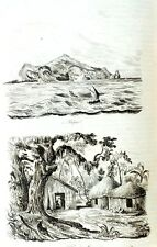SOLOMON ISLANDS - BATTLES - NATIVES - Original 1835 Antique Prints set of 7