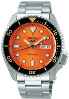 Seiko 5 Sports Orange Dial Stainless Steel Bracelet Automatic Mens Watch SRPD59K