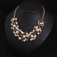 Wedding Bridal Simulated Pearl Leaves Branches Collar Bib Statement Necklace