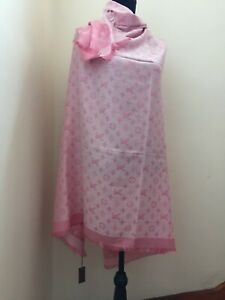 Louis Vuitton Pink and White Reversible Monogram Wool Blend Brand New Scarf