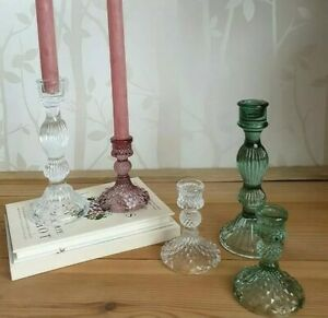 Glass Candlestick In Vintage Green Amethyst Blue or Clear Glass 2 Sizes & Styles