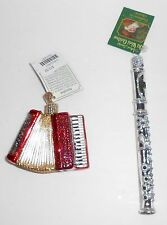 Old World Christmas ACCORDION and FLUTE Music New Glass Ornaments OWC Merck
