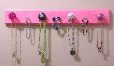 """Handmade Necklace Hanger """"Wood"""" - Pink """"Weathered Look"""" w/Decor Knobs & Hooks"""