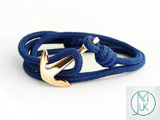 Stainless Steel Rose Gold Anchor Bracelet Navy Blue Rope Paracord Wrap Around