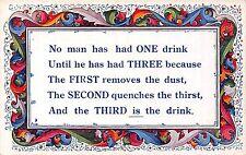 POSTCARD  COMIC   No  man has had ONE  drink....