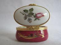 Artoria Limoges Porcelain Trinket Box Hinged Oval Floral Rose France