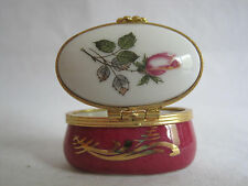 Artoria Limoges Porcelain Oval Rose Trinket Box Hinged