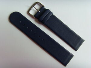 Watch Strap Leather Blue 20 MM Slide Attachment To Screws Skagen BERING