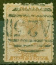 More details for malta 1868 1/2d buff-brown sg14 p.12.5 rough perf fine used