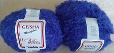 2 Balls GEISHA Microfibra Lefibre nobili cervinia yarn Filatura Royal Blue 1976
