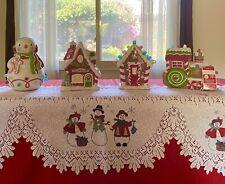 LoT 4 Hallmark Gingerbread Gumdrop House Santa's Workshop Musical Snowman &Train