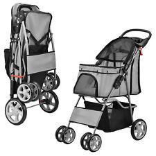 [pro.tec]® Hundewagen Pet Stroller Hundebuggy Roadster inkl. Einkaufstasche Grau