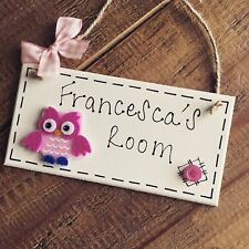 Personalised Owl Name Plaque Door Nursery Bedroom Sign Gift Baby Girls Room