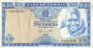 ZAMBIA 10 Kwacha 1976, P-22, Nice Original VF with Good Paper