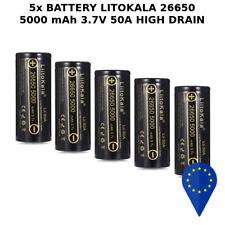 5x BATTERY LIITOKALA 26650 5000mAh 50A DISCARGE HIGH DRAIN BATTERIA FLAT TOP