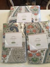 NIP 3P Pottery Barn GISELA Paisley Duvet STANDARD Shams FULL/QUEEN Blue Orange