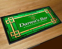 Personalised bar runner St Patricks Green Irish Stained glass effect beer mat