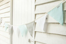 2m Handmade Bunting Flags: Grey, Mint, White - Party Wedding Child Bedroom Decor