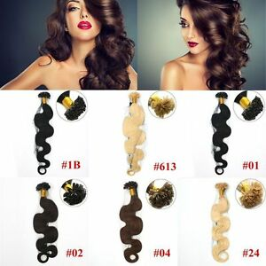 Remy Fusion Nail U Tip Keratin Human Hair Extensions 20inch 100S Thick Body Wave