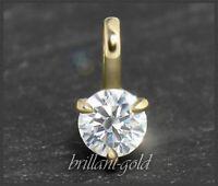 Diamant 585 Gold Damen Anhänger mit 0,34ct, Top Wesselton F & Lupenrein, Gleiter