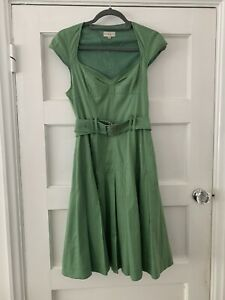 Vintage Karen Millen England Polka Dot Fit & Flare Tea Dress Size 12