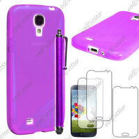 Housse Etui Coque Silicone Violet Samsung Galaxy S4 i9500 + Stylet + 3 Films