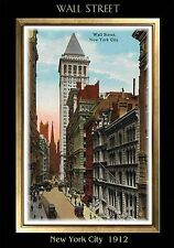 MAGNET TRAVEL Post Card Photo Magnet WALL STREET New York City 1912