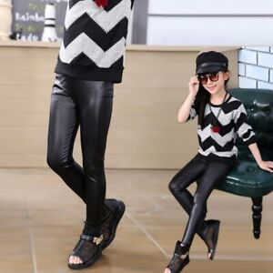 Kids Warm Skinny Leggings Trousers Toddler Girls Baby Stretchy PU Leather Pants