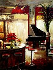 Bar Counter with Grand Piano, Quality Hand Painted Oil Painting 30x40in