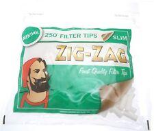 2 x ZIGZAG Resealable Bag of 250 SLIM MENTHOL Cigarette Filter Tips = 500 Tips