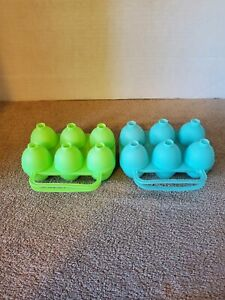 Lot of 2 Jello Easter Egg Molds Jigglers Smooth Green Blue