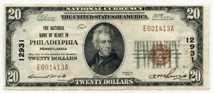 1929 US. NATIONAL CURRENCY BANK OF OLNEY IN PHILADELPHIA $20 DOLLARS CRISP XF.