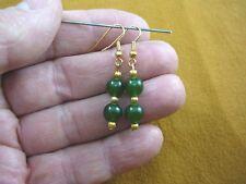 (ee404-11) Green polar jade Canada beaded gemstone dangle earrings 8 mm beads