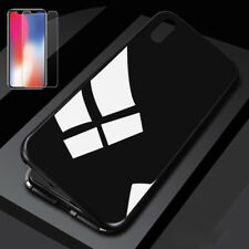 For Apple iPhone 6 6 7 8 8 Plus X Magnetic Metal Frame+Tempered Glass Cover Case