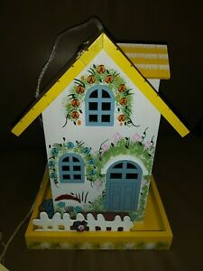 Home Bazaar Architectural Bird House Yellow/Blue Floral New with Tags