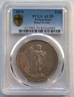 Switzerland 1879 Shooting Festival 5 Francs PCGS AU55 Silver Coin