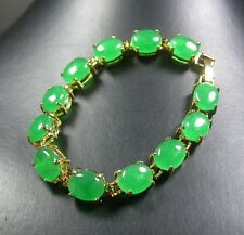 Yellow Gold Plate CHINESE Green JADE Cabochon Bead Beads Bangle Bracelet 246974