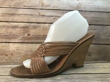 MICHAEL KORS Wmn sz 8.5 Brown Leather Strappy Open Toe Heels Sandals Shoes