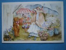 POSTCARD CHILDREN TEDDY & THE FLOWER LADY WATERCOLOUR