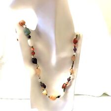 Vintage  1960's Mixed Agate Stone Necklace