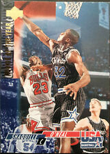 1994 Upper Deck USA #50 Shaquille O'Neal blocking Michael Jordan - Team USA