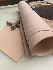 2 SQFT VEG TAN LEATHER NATURAL TANNED HIDE - TOOLING & CRAFT + LENGTHS