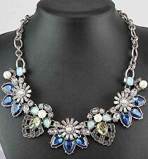 Pendant Crystal Bib Statement charm chunky Woman collar Chain Necklace 981