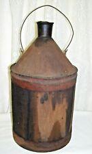 Antique Primitive Wooden Gallon Jug over Metal